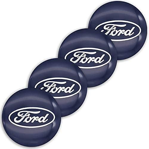 Coche Tapas Para Tapacubos Para Ford- Mustang Explorer FIESTA Focus Kuga Edge 56mm,Cubierta De Centro Tapa Central De Rueda Con Logo,ProteccióN Contra El óXido,4 Unidades