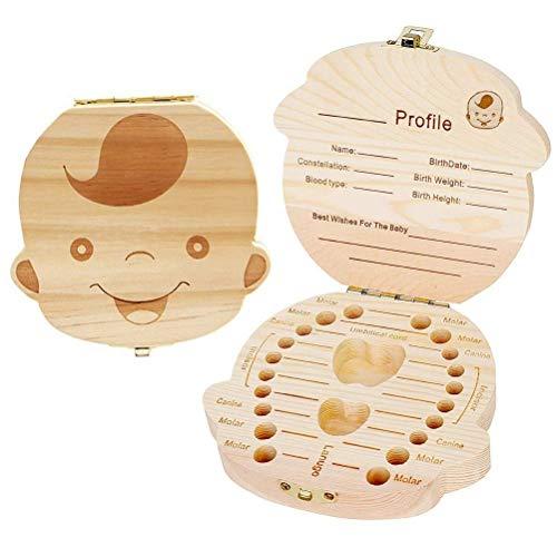 pengxiaomei Baby Zähne Save Box Baby Zähne Box Save Organizer Milk Zähne Box Holz Zahn Andenken Box für Baby Kinder Milk Zähne Memory Storage Boxen Organizer für Jungen