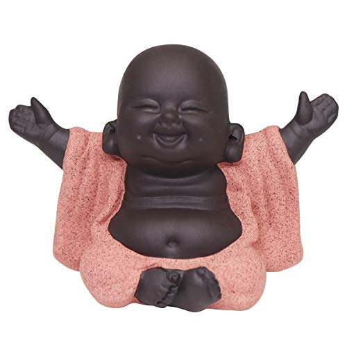 Buddha Statue, Cute Baby Buddha Decor, Little Monk Figurine Smiling Buddha Decor, Lovely Ceramic Buddha, Chinese Tea Set Accessories Collections, Home Office Car Decors