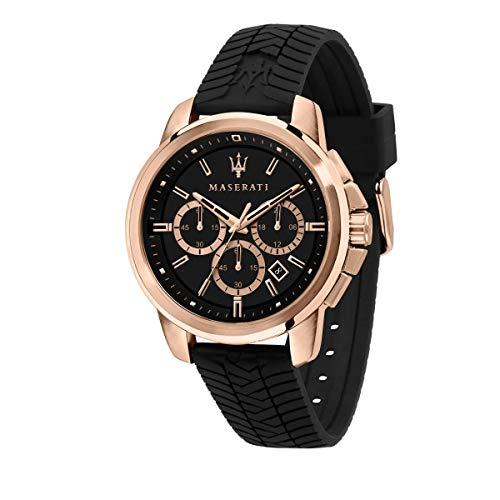 Maserati Reloj para Hombre, Colección Successo, en Acero Inoxidable, PVD Oro Rosa, Silicona, con Correa de Silicona - R8871621012