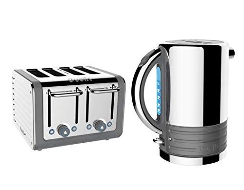 Dualit Architect Stainless Steel Kettle & 4 Slice Toaster Set Telegrey