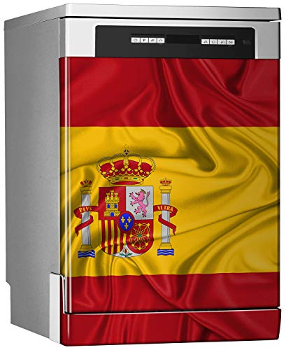Megadecor decoratief vinyl voor vaatwasser, afmetingen standaard 67 cm x 76 cm, vlag zijdezacht Spanje