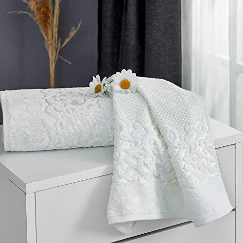 Shangfu Suministros de baño Toalla de Toalla de Toalla 100% algodón Toalla de Encaje de Lujo Toalla de Mano Toalla de Playa Conjunto de Toalla de Cara 1/2/3/4 PCS 50x90 cm (Color : White, Size : 1pc)