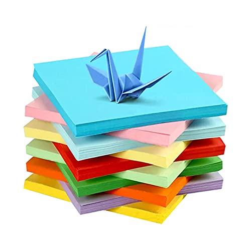 Papel para papiroflexia 100 hojas, papel Origami de doble cara,15 x 15 cm10 Colores,Uadrado Color Papel Plegable,Para Proyectos de Artes y Oficios