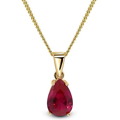 Miore Kette Damen Halskette mit Tropfen Anhänger Edelstein/Geburtsstein Rubin in rot Kette aus Gelbgold 9 Karat / 375 Gold Halsschmuck 45 cm lang