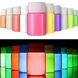 Gejoy 10 Piezas de Pintura UV para Tela, El Papel y la Pared Brillan en la Oscuridad, Set Fluorescente para Ropa, Carrera Nocturna, Fiesta de Brillo (10 Colores, 0.7 FL Oz / 20 Ml)