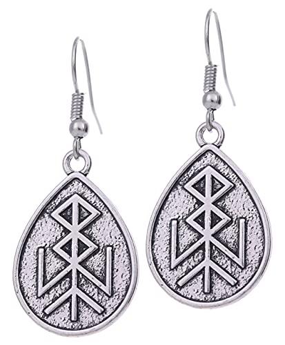 AMOZ Vintage Talismán Nórdico Vikingo Runas Colgante Amuleto Regalo Gota Pendiente para Mujeres Niñas,B
