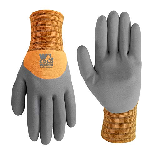 Men's HydraHyde Cold Weather Work Gloves, Water-Resistant Latex Coating, X-Large (Wells Lamont 555XL),Grey, Red/Orange