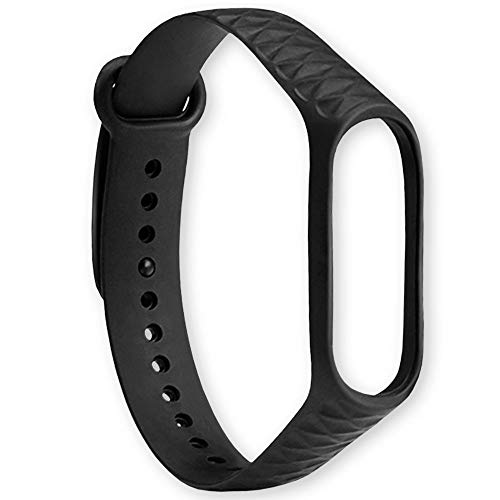 OcioDual Correa de Recambio TPU Negra para Xiaomi Mi Band 4 Diseño Rombos Bracalete Ajustable Reloj Pulsera Silicona Flexible