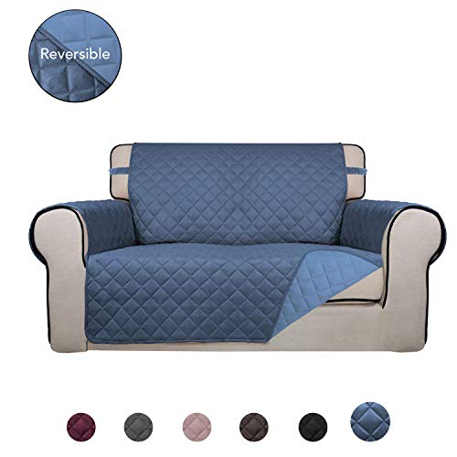 PureFit Reversible Quilted Sofa Cover, Water Resistant Slipcover Furniture Protector, Washable Couch Cover with Non Slip Foam and Elastic Straps for Kids, Dogs, Pets (Loveseat, DarkBlue/LightBlue)