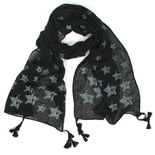 DE SCARF GIRAFFE EXCLUSIEVE Star & Sparkle dames sjaal. Warme knusse perfecte wintersjaal. Kerstfeest, Geheime Kerstman. Versierde w/pailletten studs & folie patronen (Camouflage Stars - Zwart)