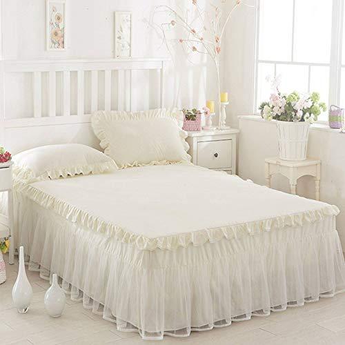GOPG Bettrock mit Rüschen, Staubdicht Faltenresistent and Ausbleichen Weich Bettvolant Bettschutz für Alle Bettgrößen und Farben-C-Bett 180x200cm