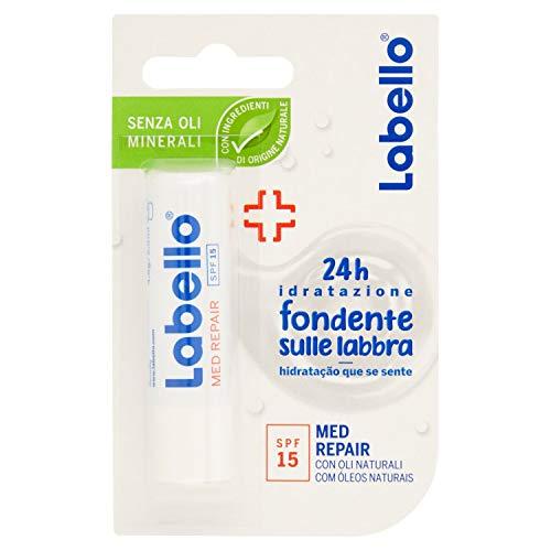Labello Med Repair Balsamo Labbra, Formula senza Oli Minerali e Parabeni, 24h di Idratazione, Fattore di Protezione Solare 15