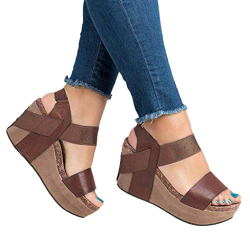 Womens Casual Sandals Summer Pee Toe Ankle Strap Slingback Sandal Breathable High Platform Elastic Band Shoes (Brown, US:8.5)