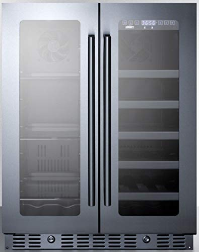 """Summit Appliance ALFD24WBV ADA Compliant 24"""" 4.6 Cu.Ft. Built-in or Freestanding Dual Zone Wine/Beverage Center with French Door Swing, Seamless Stainless steel Trimmed Glass Doors and Black Cabinet"""