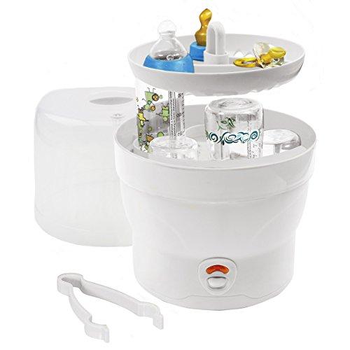 H+H BS 29w Sterilisator für 6 Babyflaschen – blau ✓ Nur 11min ✓ Kabelfach ✓ Abschaltfunktion | Dampf-Sterilisator, Vaporisator zum Sterilisieren + Desinfizieren von Baby-Fläschchen & Schnuller
