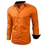 Baxboy - Camisa de manga larga para hombre, de corte ajustado, fácil de planchar, para trajes, trabajo, bodas, tiempo libre, R-44 naranja XL