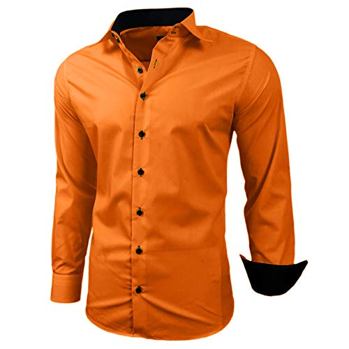Kontrast Business Anzug Freizeit Polo Slim Fit Figurbetont Hemd Langarmhemd R-44, Farbe:Orange;Größe:L