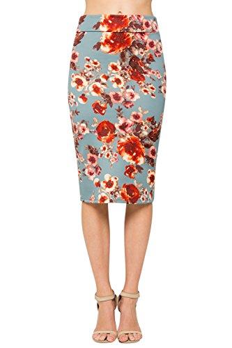 Junky Closet Women's Comfort Stretch Pencil Midi Skirt (M, 2936GRAQ Grey Floral)