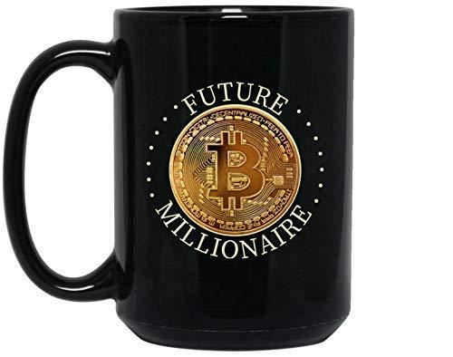 Lplpol Bitcoin Kaffee Tee Tasse - Kryptowährung Kaffee Tasse - Future Millionaire - Geschenk für Bitcoin Trader oder Miner