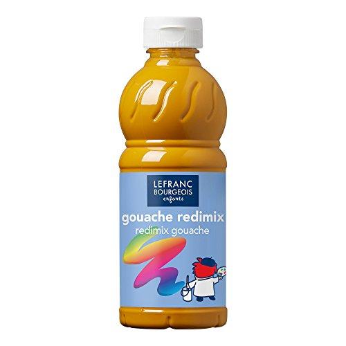 Lefranc & Bourgeois 188014 flüssig Tempera Redimix Kinderfarbe, gebrauchsfertige Tempera - Gouachefarbe, 500ml Flasche - Gelber Ocker