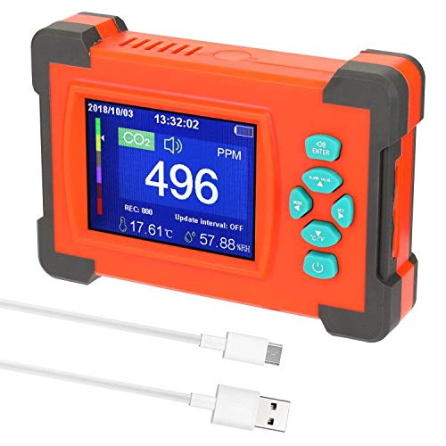 CO2-Messgerät Kohlendioxid Detektor mit wiederaufladbarer Akku Tragbarer CO2 Meter Tester für Luftqualität, Temperatur und Feuchtigkeit Monitor mit Aufbewahrungskoffer