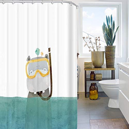 Home Badezimmer Wasserdicht Duschvorhang Stoff Kleine Hippo Mehltau Trennwand Fensterbrett Stoff Ohne Stanzen-180 * 200cm