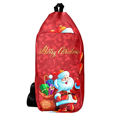 Cangurera Bolso Bandolera Bolso Mensajero Hombre Bolsos de Hombre Bolsos Cruzados Bolso Casual para Trabajo Viaje Feliz Navidad Red Santa Claus con Regalos