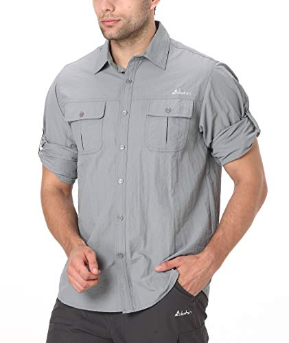 Clothin Men's Roll-Up Long Sleeve Vented Shirt - Lightweight Cooling Quick-Dry,Grey,Large