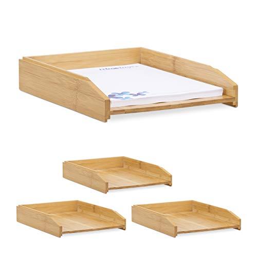 Relaxdays 4 x Dokumentenablage, stapelbar, DIN A4 Papier, Büro, Schreibtisch, Briefablage aus Bambusholz, 6 x 25 x 33 cm, Natur