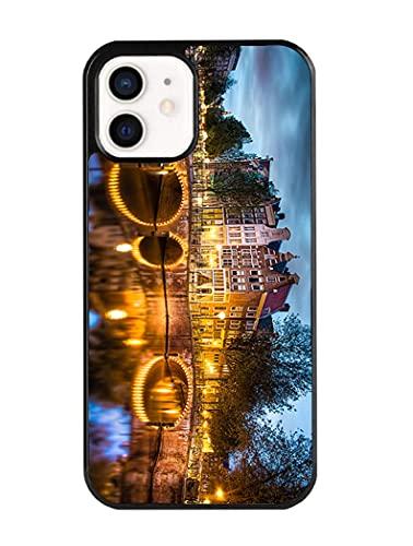VEELFF voor iPhone 12 hoesje - Geweldig appartement centrum Amsterdam grachten bibliotheek RijksmuseumBeagle Puppy patroon telefoonhoesje - TPU Shock Absorption Protection Phone Cover Case