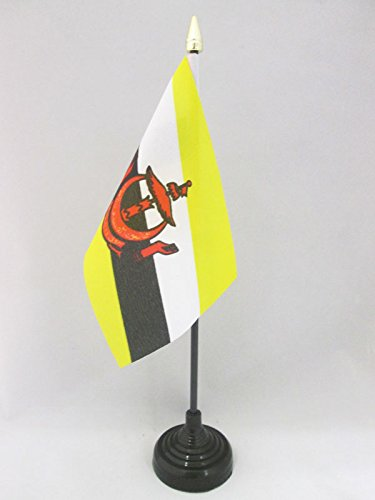 AZ FLAG TISCHFLAGGE Brunei 15x10cm goldene splitze - Brunei DARUSSALAM TISCHFAHNE 10 x 15 cm - flaggen