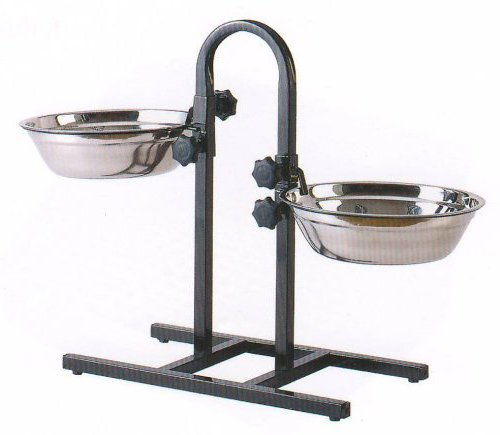 Mcage 3-Quart or 5-Quart Adjustable Double Wrought Iron Chew Free Stainless Steel Dog Cat Pet Diner Food Water Bowls (2-Quart)