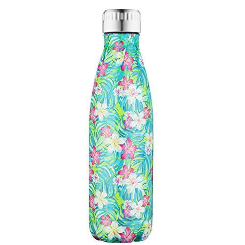 SEPT MIRACLE Sept Miracolo Tenere Caldo e Freddo in Acciaio Inox colorato Water Bottle Thermos ermetica Doppia Parete Tazze di Sport (500 ml) (Fiore più)