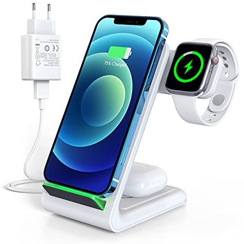 Induktive Qi Ladestation, 3 in 1 Ladegerät Kabellos für iPhone 13/13 Pro/12/12 Pro/11/11Pro/XR/XS/X/8/8P/Samsung, 15W Wireless Charger für iWatch SE/7/6/5/4/3/2, Airpods 2/Pro Weiß(Adapter enthalten)