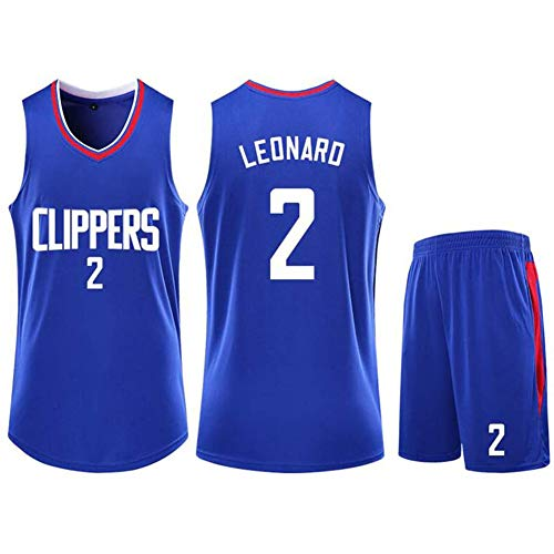 QAZWSX Uniforme da Pallacanestro Los Angeles Clippers 2, Maglia NBA per Sport Estivi Kawhi Leonard, Divise da Basket per Adulti, Maglia da Basket (compresi Pantaloncini)-Blue-XXL