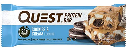 Quest Nutrition Cookies and Cream Flavour Protein Bar, Gluten free, Vegetarian friendly, Low Sugar, Keto Friendly, 12-Count