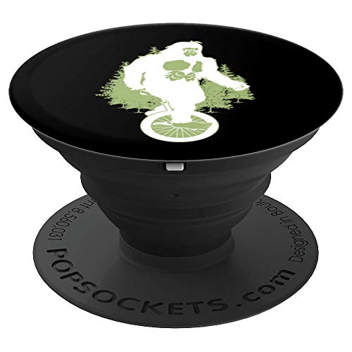 Bigfoot On Unicycle Bike | Cute Unicyclist Yeti Funny Gift PopSockets Grip and Stand for Phones and Tablets