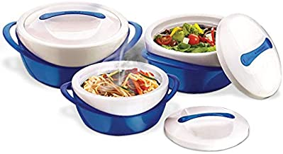 Pinnacle Thermoware 3 Pc. Set Casserole Dish - Large Soup and Salad Bowl Set - Insulated Serving Bowl With Lid - Great Bowl for Holiday, Dinner and Party - 2.6 qt. 1.25 qt. .6 qt. - Blue