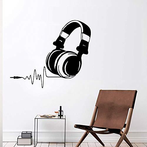 Diy Kopfhörer Vinyl Poster Musik Wandaufkleber für Bürozimmer Wohnzimmer Aufkleber Kaffee XL 58cm x 68cm
