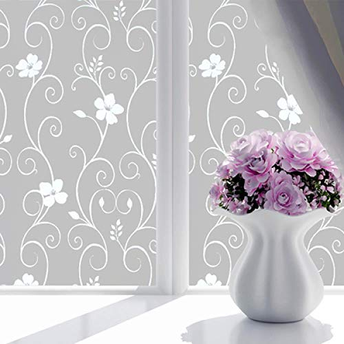 QIANSD 45X100cm selbstklebende Milchglasfolie transparente undurchsichtige Dekorfolie Weiße Blume