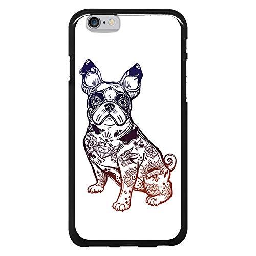 BJJ SHOP Funda Negra para [ iPhone 6 / iPhone 6s ], Carcasa de Silicona Flexible TPU, diseño: Perro Bulldog Frances Tatuajes Vieja Escuela