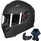 Auboa Lightweight Full Face Helmet for Adults Motorcycle Powersports Racing Helmet Women Men Dual Visors DOT(Matte Black,M)