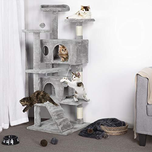 Yaheetech Árbol para Gatos con Escalera Múltiples Plataformas Rascadores Arañazos con Felpa Suave Gris Claro
