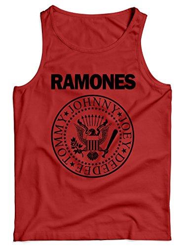 LaMAGLIERIA Camiseta de Tirantes Hombre Ramones Black Print - 100% algodòn, L, Rojo