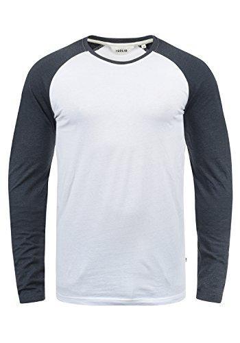 !Solid Bastien Herren Longsleeve Langarmshirt Shirt Mit Rundhalskragen, Größe:L, Farbe:White Blue Melange (B0001)