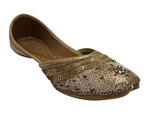 Scarpe con perline Punjabi Jutti sandali etnici indiani scarpe piatte Mojari Jaipuri Juttis da sposa, Beige (Sultan), 39 1/3 EU