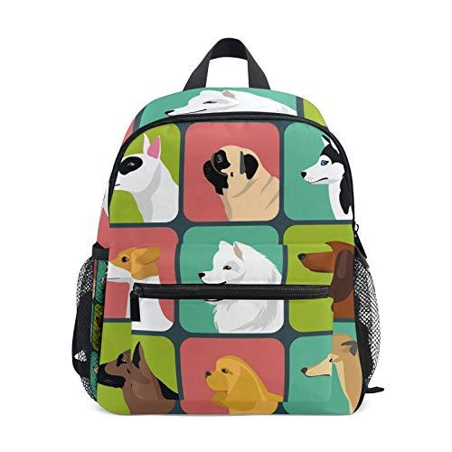 LUPINZ Juego de diferentes diseños de iconos de perros para niños en edad preescolar infantil mochila de jardín de infancia