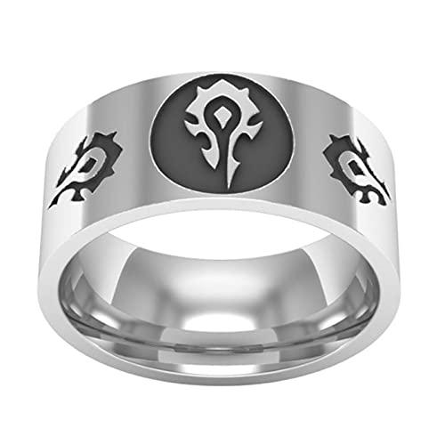 YTO Entorno de Cine y televisión, Anillo de Juego de World of Warcraft, Anillo con el Logotipo de la Alianza y la Tribu, Anillo de Acero de Titanio para Hombres(Size:10)