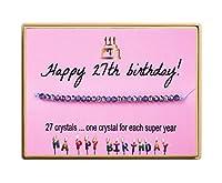 Monily 女の子向け誕生日ギフト クリスタルビーズ ハンドメイド 調節可能なコードブレスレット 女性用 7歳 11歳 13歳 15歳 16歳